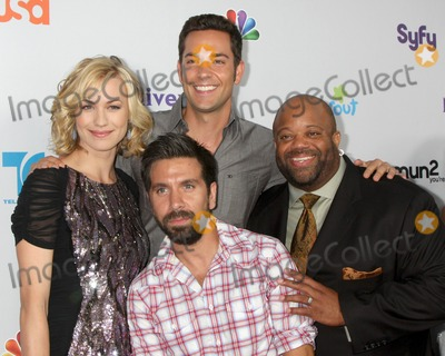 Zach Levi Photo - LOS ANGELES - AUG 1  Yvonne Strahovski Zach Levi Mark Christopher Lawrence Joshua Gomez (front) arriving at the NBC TCA Summer 2011 Party at SLS Hotel on August 1 2011 in Los Angeles CA