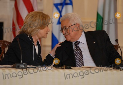 ABBA Photo - Washington DC 9022010RESTRICTED NEW YORKNEW JERSEY OUTNO NEW YORK OR NEW JERSEY NEWSPAPERS WITHIN A 75  MILE RADIUSSecretary Clinton hosts Abbas and Netanyahu peace talksSecretary of State Hillary Clinton hosts the re-launch of direct negotiations between Israeli Prime Minister Benjamin Netanyahu and Palestinian Authority President Mahmoud Abbas at the US State Department Secretary Clinton shakes hands with Abbas after marking the start of the negotiations by making opening remarks to the mediaDigital photo by Elisa Miller-PHOTOlinknet