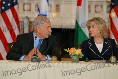 Benjamin Netanyahu Photo - Washington DC 9022010RESTRICTED NEW YORKNEW JERSEY OUTNO NEW YORK OR NEW JERSEY NEWSPAPERS WITHIN A 75  MILE RADIUSSecretary Clinton hosts Abbas and Netanyahu peace talksSecretary of State Hillary Clinton hosts the re-launch of direct negotiations between Israeli Prime Minister Benjamin Netanyahu and Palestinian Authority President Mahmoud Abbas at the US State Department Secretary Clinton and the two leaders marked the start of the negotiations by making opening remarks to the mediaDigital photo by Elisa Miller-PHOTOlinknet