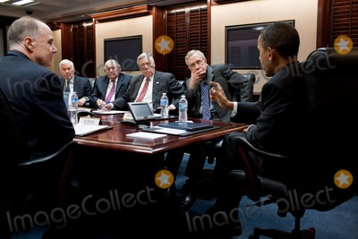 Harry Reid Photo - United States President Barack Obama meets with a bipartisan group of Congressional leaders on Libya in the Situation Room of the White House March 18 2011 Seated from left are National Security Advisor Tom Donilon US Sen Richard Lugar (Republican of Indiana) US Senator Carl Levin (Democrat of Michigan)  US Representative Steny Hoyer (Democrat of Maryland) and US Senate Majority Leader Harry Reid (Democrat of Nevada)Photo by Pete SouzaWhite HouseCNP-PHOTOlinknet