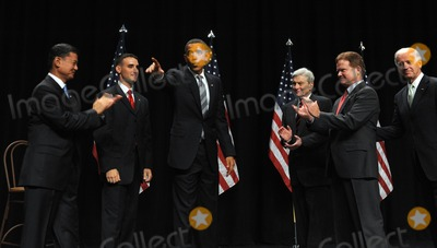 Eric Shinseki Photo - Fairfax VA - August 3 2009 -- United States President Barack Obama waves after speaking during an event to mark the implementation of the Post-911 GI Bill at George Mason University in Fairfax Virginia on Monday August 3 2009 On stage from left are US Secretary of Veterans Affairs General Eric Shinseki Marine Corps Staff Sergeant James Miller Obama former US Senator John Warner (Republican of Virginia) US Senator Jim Webb (Democrat of Virginia) and Vice President Joseph Biden  Photo by Roger WallenbergPOOL-CNP-PHOTOlinknet