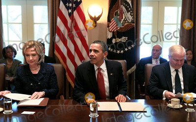 Robert gates Photo - United States President Barack Obama (C) US Secretary of State of State Hillary Clinton (L) and US Secretery of Defense Robert Gates participate in a cabinet meeting at the White House Wednesday February 1 2011 in Washington DC Later in the day President Obama will meet with members of the Technology CEO Council to discuss competitiveness innovation and the need to create jobs  Photo by Mark Wilson PoolCNP-PHOTOlinknet