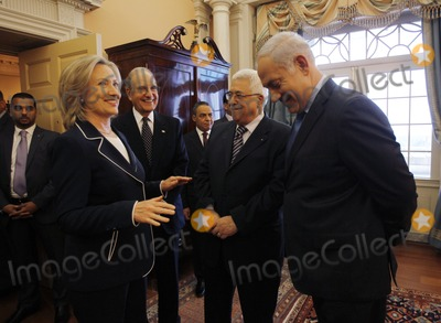 ABBA Photo - US Secretary of State Hillary Clinton (L) hosts Israels Prime Minister Benjamin Netanyahu (R)  President of the Palestinian Authority Mahmoud Abbas (2nd R) and George Mitchell US Special Envoy for Middle East Peace (2nd L) in the Monroe Room of the State Department moments before direct talks aimed at peace in the Middle East at the State Department in Washington September 2 2010    Photo by Jason ReedPoolCNP-PHOTOlinknet