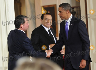 King Abdullah II of Jordan Photo - Peace Talks8258JPGRESTRICTED NEW YORKNEW JERSEY OUTNO NEW YORK OR NEW JERSEY NEWSPAPERS WITHIN A 75 MILE RADIUS OF NYCUnited States President Barack Obama right shakes hands with King Abdullah II of Jordan left as President Hosni Mubarak of Egypt center looks on following statements in advance of the opening of the first direct talks in two years between Israel and the Palestinian Authority scheduled to begin at the State Department in Washington DC tomorrow in the East Room of the White House following their bi-lateral meetings  in Washington DC on Wednesday September 1 2010  Photo by Ron SachsPoolCNP-PHOTOlinknet
