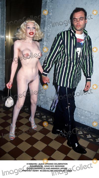 AMANDA LAPORE Photo -  Alaia Opening Celebration Guggenheim  Soho NYC 09222000 David Lachapelle and Amanda Lapore Photo by Henry McgeeGlobe Photosinc