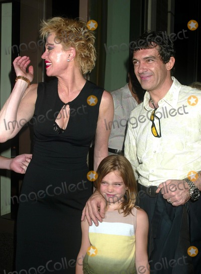 Thalia Photo - Melanie Griffith and Antonio Banderas with Their Daughter Stella at a Welcome to Broadway Party For Melanie Griffith at Thalia Restaurant in New York City on July 20 2003 Photo Henry McgeeGlobe Photos Inc 2003 K31787hmc