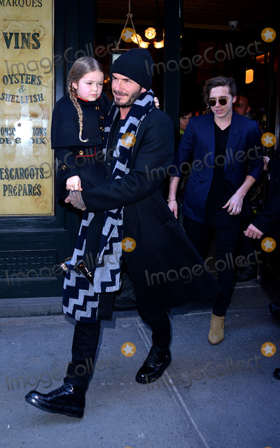 Brooklyn Beckham Photo - February 14 2016 New York CityDavid Beckham his daughter Harper and Brooklyn Beckham (R) leaving Baththazar Restaurant on February 14 2016 in New York CityBy Line Curtis MeansACE PicturesACE Pictures Inctel 646 769 0430