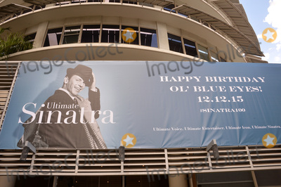 Frank Sinatra Photo - Frank Sinatra 100th birthday tribute banner outside the entrance to the Capitol Records Building at the ceremony atop the Capitol Records Building in Hollywood to raise a 100th birthday flag in honor of singer Frank Sinatra who was born 100 years ago on 12th December Los Angeles December 11 2015 December 11 2015  Los Angeles CAPicture Paul Smith  Featureflash