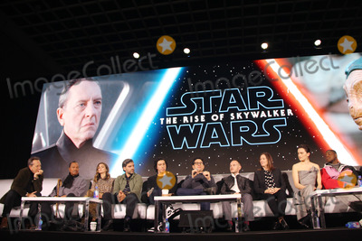 Chris Terrio Photo - Richard E Grant Billy Dee Williams Keri Russell Adam Driver JJ Abrams Chris Terrio Kathleen Kennedy Daisy Ridley John Boyega 12042019 Star Wars The Rise of the Skywalker Press Conference held in Pasadena CA Photo by Izumi Hasegawa  HollywoodNewsWireco