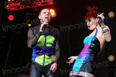 Scissor Sisters Photo - London UK Scissor Sisters ( Ana Matronic and Jake Shears )  performing live during the third day of Lovebox Festival at Victoria Park in London 17th July  2011 Justyna SankoLandmark Media