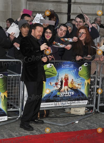 The Muppets Photo - London UK Ricky Gervais at the VIP screening of The Muppets Most Wanted at The Curzon Mayfair in London on March 24 2014Ref LMK386-47971-250312Gary MitchellLandmark MediaWWWLMKMEDIACOM