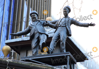 Leicester Square Photo - London UK Laurel and Hardy statue at Launch of a trail of cinematic bronze statues - Scenes in the Square in Londons Leicester Square celebrating the locations rich history as the home of film and marking the squares 350th anniversary February 27th 2020Ref LMK73-J6288-280220Keith MayhewLandmark Media  WWWLMKMEDIACOM