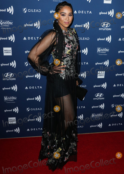 Alexandra Shipp Photo - BEVERLY HILLS LOS ANGELES CALIFORNIA USA - MARCH 28 Actress Alexandra Shipp wearing a Reem Acra dress and Casadei shoes arrives at the 30th Annual GLAAD Media Awards held at The Beverly Hilton Hotel on March 28 2019 in Beverly Hills Los Angeles California United States (Photo by Xavier CollinImage Press Agency)