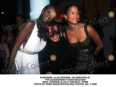 Azzedine Alaia Photo -  Alaia Opening Celebration at the Guggenheim in Soho 09222000 Iman Azzedine Alaia  Veronica Webb Photo by Sonia MoskowitzGlobe Photos Inc