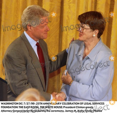 Janet Reno Photo - 2799 Washington DC 25th Anniversary Celebration of Legal Services Foundation the East Room the White House President Clinton Greets Attorney General Janet Reno During the Ceremony Photo James M KellyGlobe Photos Inc