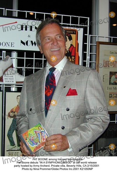 Army Archerd Photo - Pat Boone Among His Own Memorabilia Pat Boone Debuts in a Symphonic Mood at Cd World Release Party Hosted by Army Archerd Private Villa Beverly Hills CA 2152001 Photo by Nina PrommerGlobe Photos Inc2001