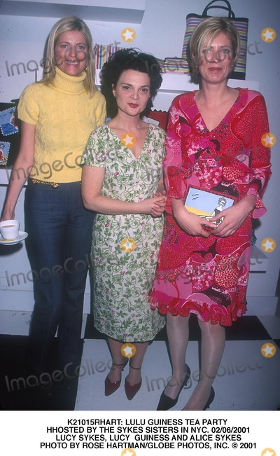 Alice Sykes Photo -  Lulu Guiness Tea Party Hhosted by the Sykes Sisters in NYC 02062001 Lucy Sykes Lucy Guiness and Alice Sykes Photo by Rose HartmanGlobe Photos Inc