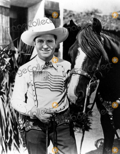 Gene Autry Photo - Gene Autry with Horse Champion Supplied by DmGlobe Photos Inc