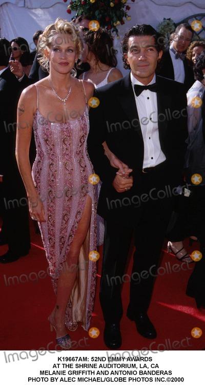 Melanie Griffith Photo -  52nd Emmy Awards at the Shrine Auditorium LA CA Melanie Griffith and Antonio Banderas Photo by Alec MichaelGlobe Photos Inc