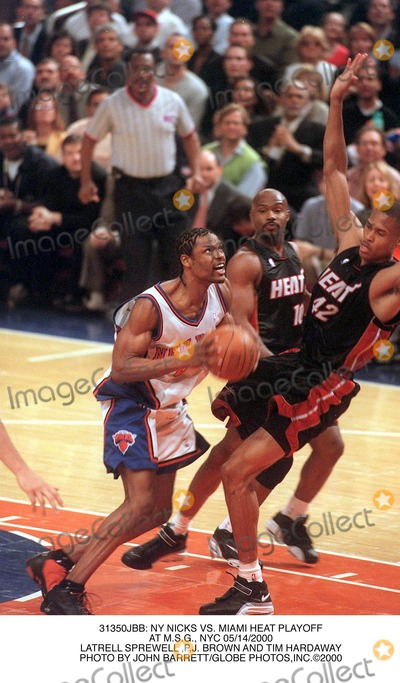 Latrell Sprewell Photo -  NY Nicks Vs Miami Heat Playoff at Msg NYC 05142000 Latrell Sprewell pj Brown and Tim Hardaway Photo by John BarrettGlobe Photosinc