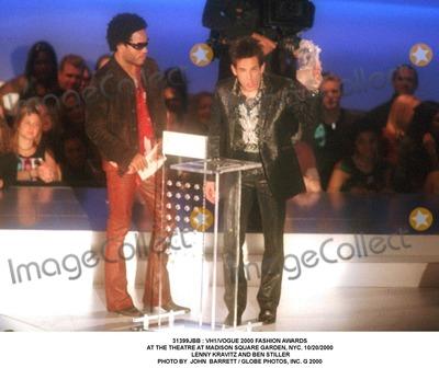 Lenny Kravitz Photo -  Vh1vogue 2000 Fashion Awards at the Theatre at Madison Square Garden NYC 10202000 Lenny Kravitz and Ben Stiller Photo by John Barrett  Globe Photos Inc G