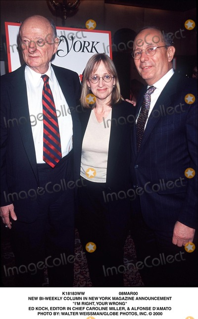 Alfonse DAmato Photo - 08mar00 New Bi-weekly Column in New York Magazine Announcement im Right Your Wrong Ed Koch Editor in Chief Caroline Miller  Alfonse Damato Photo by Walter WeissmanGlobe Photos Inc