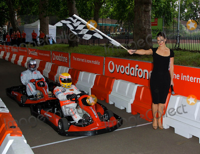 Kevin Pietersen Photo - K53568 Kevin Pietersen Lewis Hamilton and Kirsty Gallacher pose for pics as Hamilton hands over his Vodafone McLaren Mercedes go-kart to a lucky punter following auction on eBay to raise money for Tommys The Baby Charity Event is to promote launch of Vodafone Mobile Internet London  06-21-2007Photo by Mike Marsland-Spotlight Press-Globe Photos inc