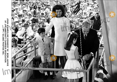 JFK Jr Photo - John  Caroline Kennedy W Mom Jackie at Jfk Aircraft Carrier Dedication PtGlobe Photos Inc