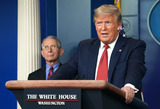 Photos From President Donald Trump Delivers Coronavirus Press Conference from the White House Briefing Room