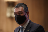 Alex Padilla Photo - United States Senator Alex Padilla (Democrat of California)  wears a protective mask during a Senate Homeland Security and Governmental Affairs Committee confirmation hearing for Neera Tanden director of the Office and Management and Budget (OMB) nominee for US President Joe Biden in Washington DC US on Tuesday Feb 9 2021 Tanden who pledged to work with both parties after drawing sharp criticism from Republicans for sniping at them on social media worked on the Affordable Care Act during the Obama years and was an aide to Hillary Clinton from her time as first lady Credit Ting Shen  Pool via CNPAdMedia