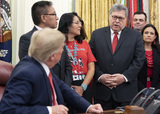 Photo - United States President Donald J Trump signs an Executive Order Establishing the Task Force on Missing and Murdered American Indians and Alaska Natives at the White House