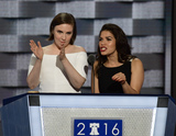 AMERICA FERERRA Photo - Actresses America Fererra right and Lena Dunham left make remarks during the second session of the 2016 Democratic National Convention at the Wells Fargo Center in Philadelphia Pennsylvania on Tuesday July 26 2016 Photo Credit Ron SachsCNPAdMedia