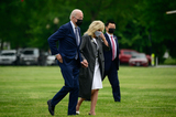 Marine One Photo - US President Joe Biden and First Lady Jill Biden arrive to the White House Ellipse on Marine One after a visit to Virginia in Washington DC US on Monday May 3 2021 Bidens 4 trillion vision of remaking the federal governments role in the US economy is now in the hands of Congress where both parties see a higher chance of at least some compromise than for the administrations pandemic-relief billCredit Erin Scott  Pool via CNPAdMedia