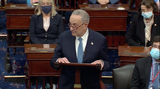 Photo - In this image from United States Senate television US Senate Minority Leader Chuck Schumer (Democrat of New York) makes remarks as the US Senate reconvenes to resume debate on the Electoral Vote count following the violence in the US Capitol in Washington DC on Wednesday January 6 2021Mandatory Credit US Senate Television via CNPAdMedia