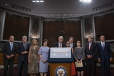 Photos From Reaction to the Vote to begin Debate on the Bipartisan Infrastructure Bill in the US Senate