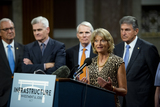 Photo - United States Senator Lisa Murkowski (Republican of Alaska) makes remarks after the vote on the motion to invoke cloture to proceed to the consideration of HR 3684 the INVEST in America Act on Capitol Hill in Washington DC on Wednesday July 28 2021 The vote to begin discussion of the bipartisan infrastructure bill agreed to by the White House was 67 to 32 If passed the bill would invest close to 1 trillion in roads bridges ports and other infrastructure without a major tax increaseCredit Rod Lamkey  CNPAdMedia