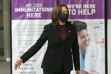 Photos From United States Vice President Kamala Harris visits a covid-19 vaccination facility in Washington, DC