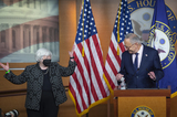 Photos From Speaker of the United States House of Representatives Nancy Pelosi (Democrat of California) holds her weekly press conference