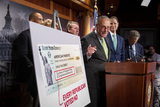 Photo - United States Senate Majority Leader Chuck Schumer (Democrat of New York) holds a press conference on Child Tax Credit Payments