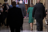 Photo - Speaker of the United States House of Representatives Nancy Pelosi (Democrat of California) and United States Senator Patrick Leahy (Democrat of Vermont) walk to the House chamber at the US Capitol during a vote