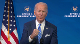 Photo - United States President-elect Joe Biden makes remarks on the Public Health and Economic Crises from the Queen Theatre in Wilmington Delaware on Friday January 8 2021 Credit Biden Transition TV via CNPAdMedia