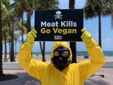 Photos From Members of PETA, dressed in Hazmat Suits, ask beachgoers to go Vegan - 7/16/20