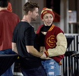 Photo - Photo by BRMstarmaxinccomSTAR MAX2014ALL RIGHTS RESERVEDTelephoneFax (212) 995-1196111314Miley Cyrus and Patrick Schwarzenegger are seen during the football game between the California Golden Bears and the USC Trojans at Los Angeles Memorial Coliseum(Los Angeles CA)